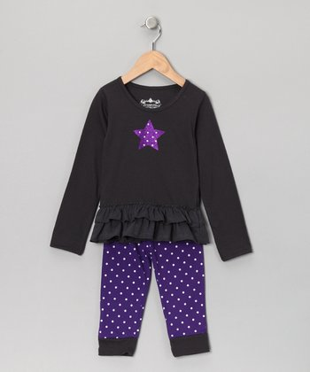 Purple Polka Dot Star Top & Leggings - Toddler
