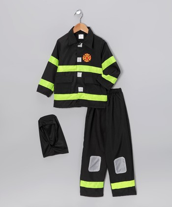 Black Fire Fighter Dress-Up Set - Boys