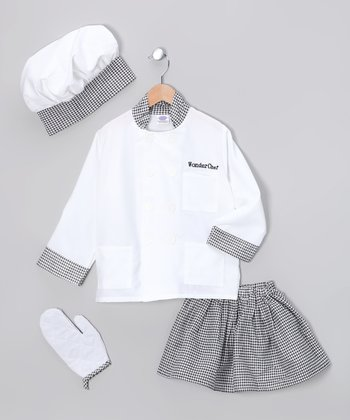 White Deluxe Chef Dress-Up Set - Girls