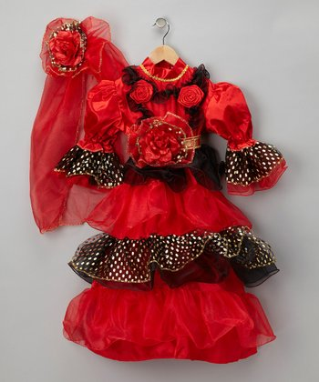 Red Spanish Dancer Dress-Up Set - Toddler & Girls