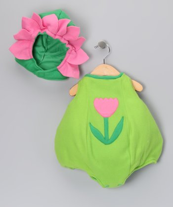 Green Dazzling Baby Flower Dress-Up Set - Infant