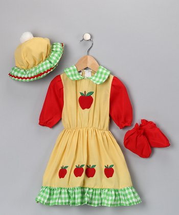 Yellow Gingham Apple Dress-Up Set - Infant, Toddler & Girls