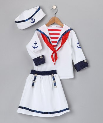 White & Red Sailor Skirt Dress-Up Set - Kids