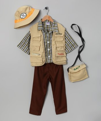 Khaki Fisher Dress-Up Set - Kids