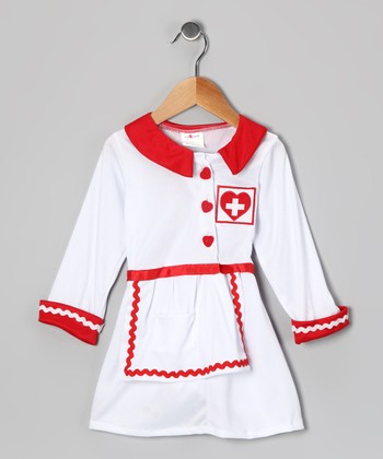 White & Red Nurse Dress-Up Set - Toddler & Girls
