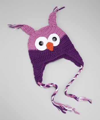 Purple Owl Crocheted Earflap Beanie