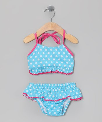 Blue & Pink Polka Dot Bikini - Infant