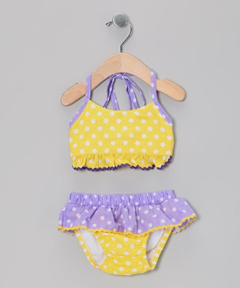 Yellow Polka Dot Bikini - Infant & Toddler