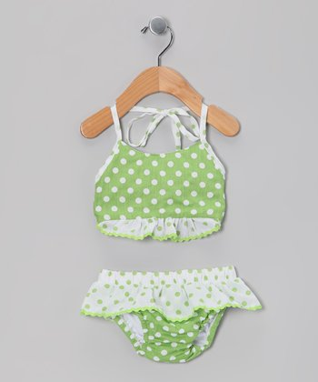 Green Polka Dot Bikini - Infant & Toddler