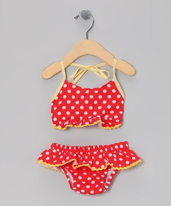 Red & Yellow Polka Dot Bikini - Infant & Toddler
