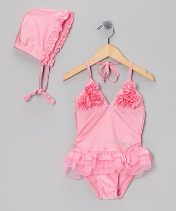 Pink Ruffle One-Piece & Bonnet - Girls