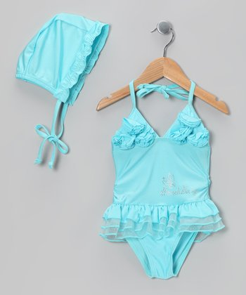 Aqua Ruffle One-Piece & Bonnet - Girls