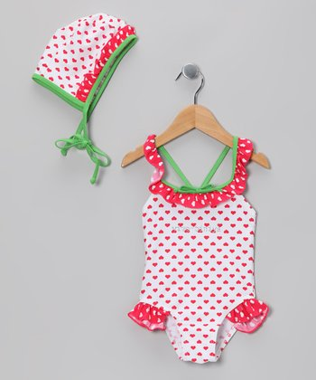 Pink Heart One-Piece & Bonnet - Girls