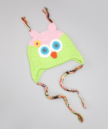 Pink & Lime Crocheted Owl Hat