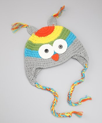 Gray Owl Crocheted Earflap Beanie