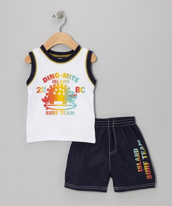 Navy & White 'Dino-Mite' Tank & Shorts