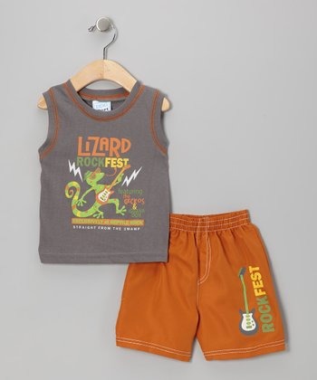 Charcoal & Orange 'Lizard Rockfest' Tank & Shorts