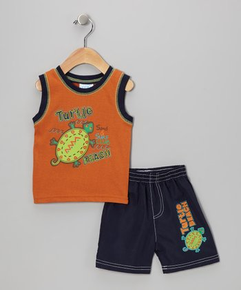Orange & Navy 'Turtle Beach' Tank & Shorts