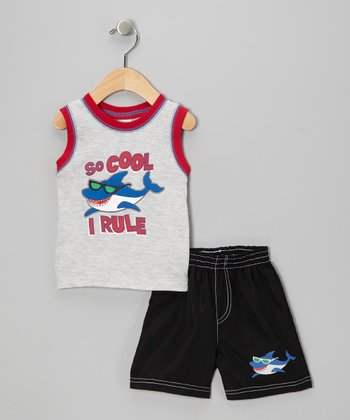 Gray & Black 'So Cool' Tank & Shorts