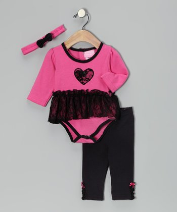 Pink & Black Heart Skirted Bodysuit Set - Infant