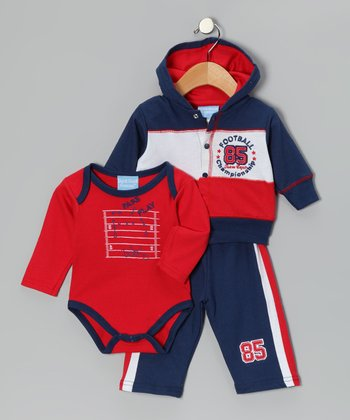 Navy & Red 'Football Championship' Hoodie Set