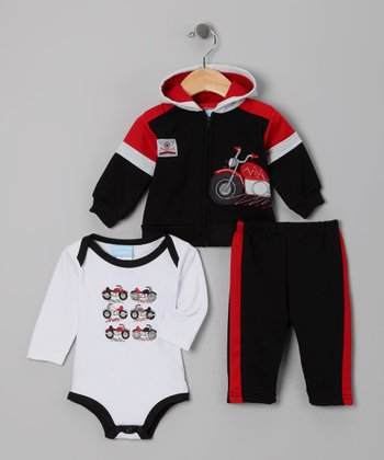 Black & Red Motorcycle Bodysuit Set