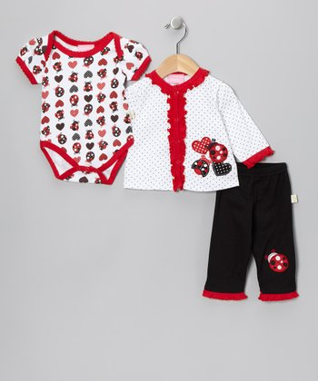 Red & Black Lovebug Cardigan Set