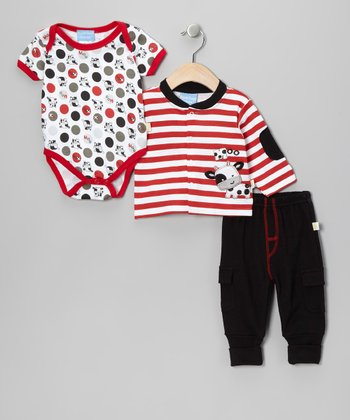 Red & Black 'Moo' Cow Cardigan Set