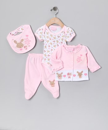 Pink 'Thank Heaven' Bib Set