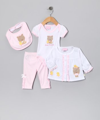 Pink 'Best Friends' Bear Bib Set