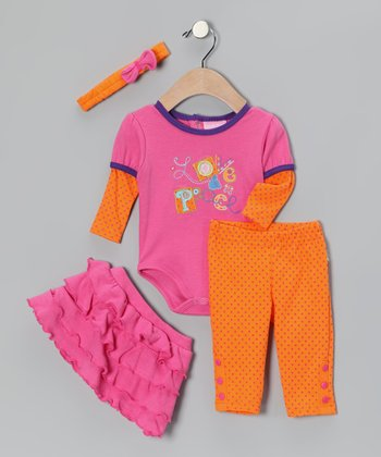 Pink & Orange 'Love & Peace' Ruffle Skirt Set