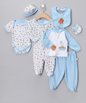 Blue 'Little Dino' Eight-Piece Layette Set - Infant