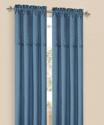 Blue Annecy Rod Pocket Curtain Panel - Set of Two