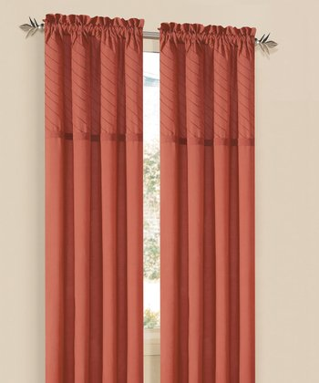 Orange Annecy Curtain Panel - Set of Two