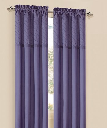 Purple Annecy Rod Pocket Curtain Panel - Set of Two