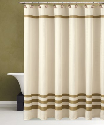 Beige & Gold Bleecker Shower Curtain