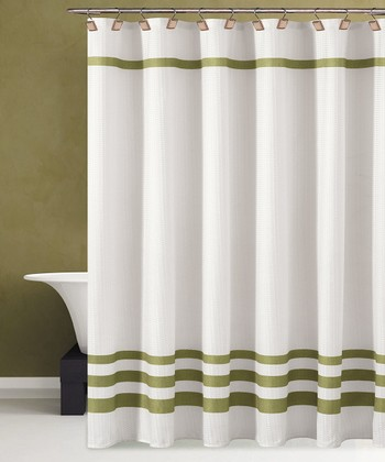 White & Green Bleecker Shower Curtain