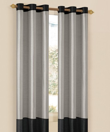 Silver & Black Bridgette Curtain Panel - Set of Two