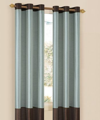 Blue & Chocolate Bridgette Curtain Panel - Set of Two