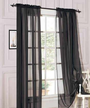 Black Sheer Celine Curtain Panel