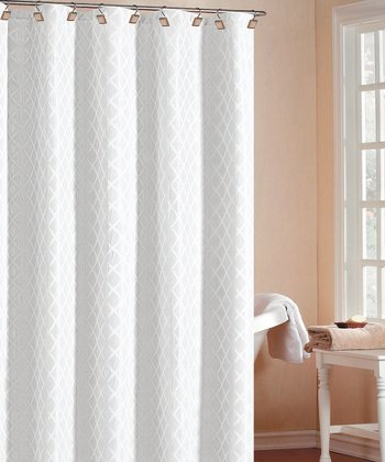 White Chloe Diamond Shower Curtain