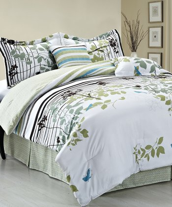 Sage Florence Reversible Queen Comforter Set