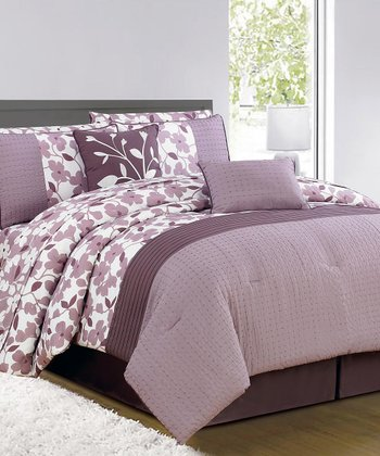 Purple & White Leila Comforter Set