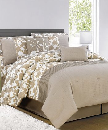 Taupe & Chocolate Leila Comforter Set