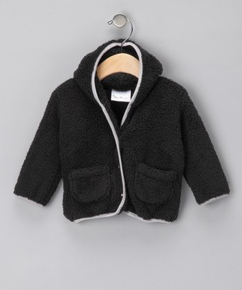 Black Hooded Plush Jacket - Infant