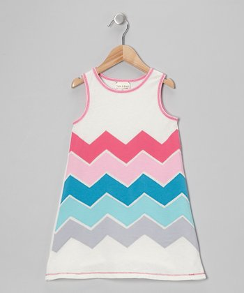 Ivory Zigzag Shift Dress - Girls