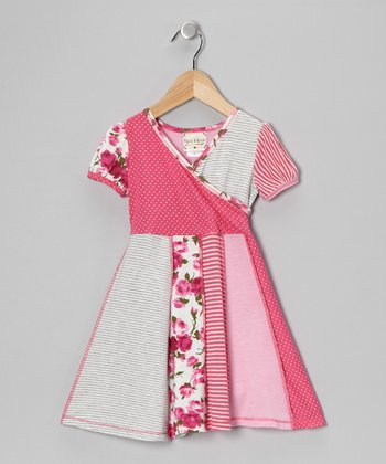 Pink & Gray Floral Collage Surplice Dress - Toddler & Girls
