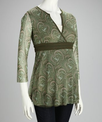 Olive Paisley Maternity Surplice Top - Women