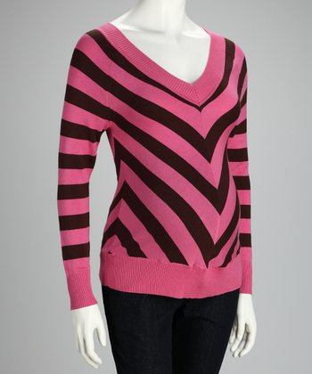 Pink & Brown Stripe Maternity Sweater