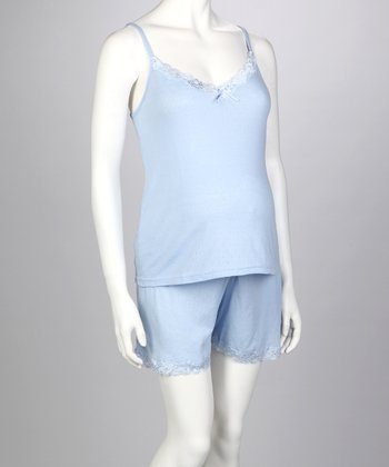 Blue Pointelle Maternity Camisole & Shorts - Women
